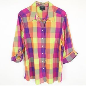 Foxcroft wrinkle free shaped fit colorful plaid